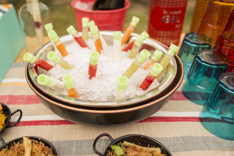 A bowl of gazpacho shots