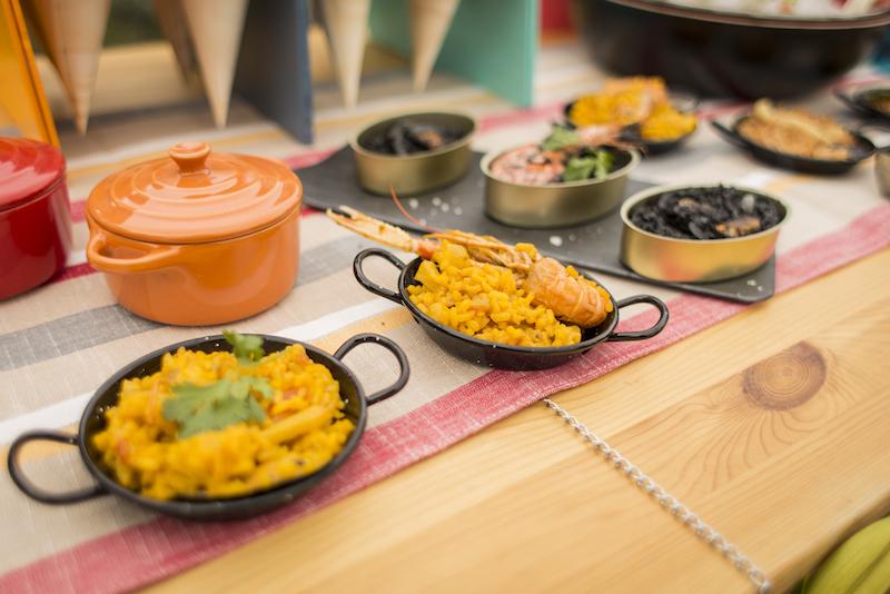 Bowls of yellow paella