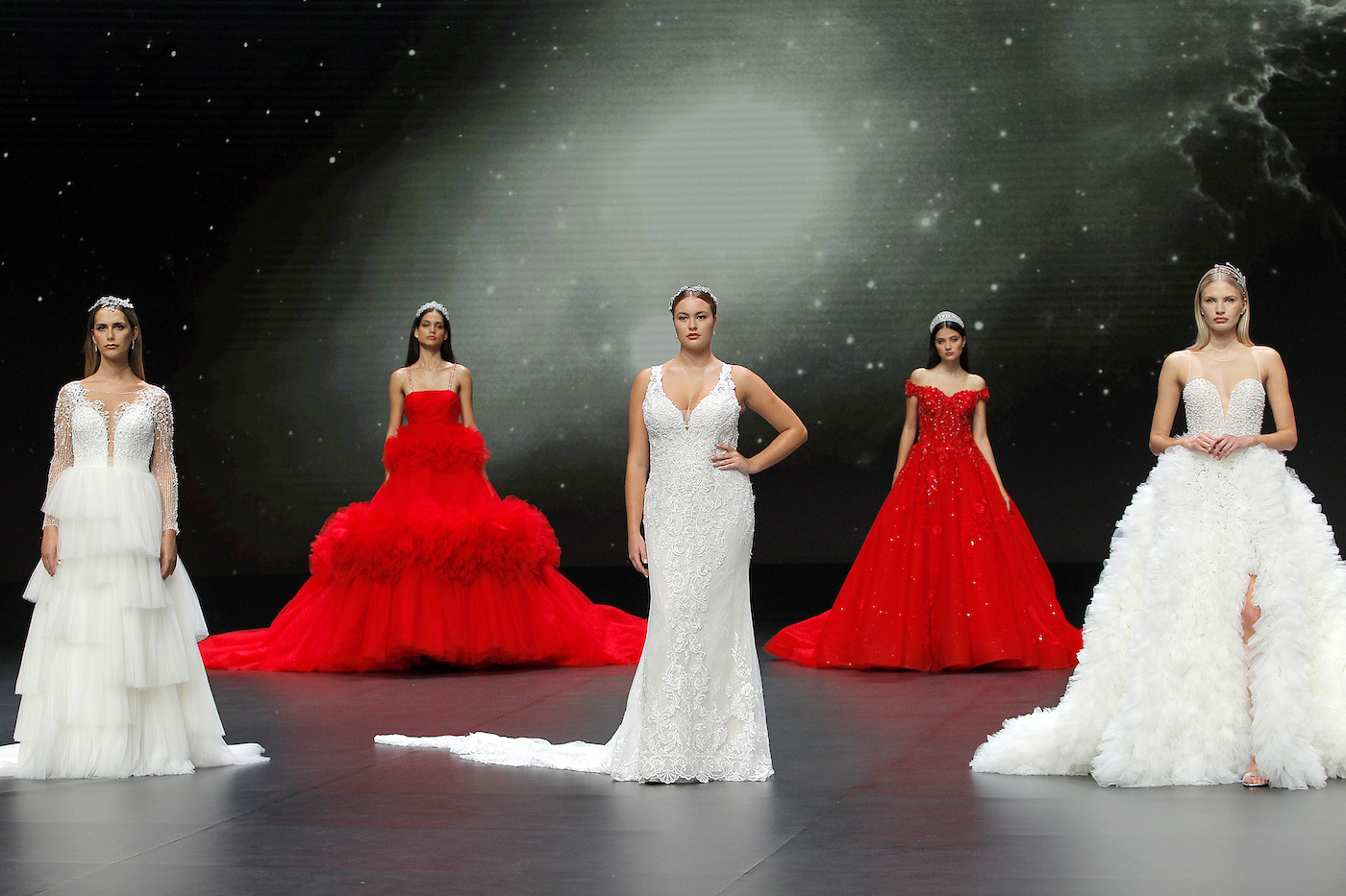 Demetrios bridal models on the catwalk at Valmont Barcelona Bridal Fashion Week 2020