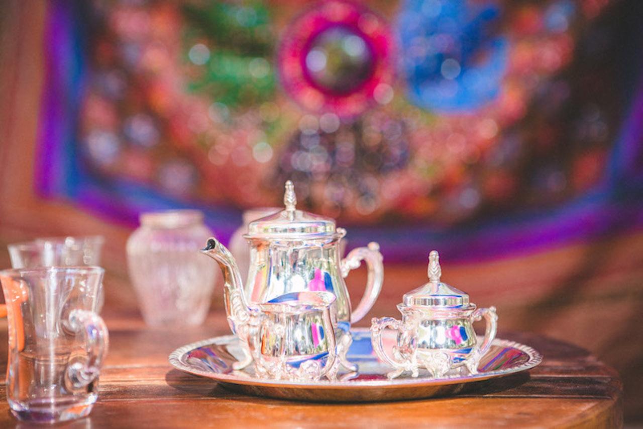 An Indian tea set at an Hindu interfaith wedding