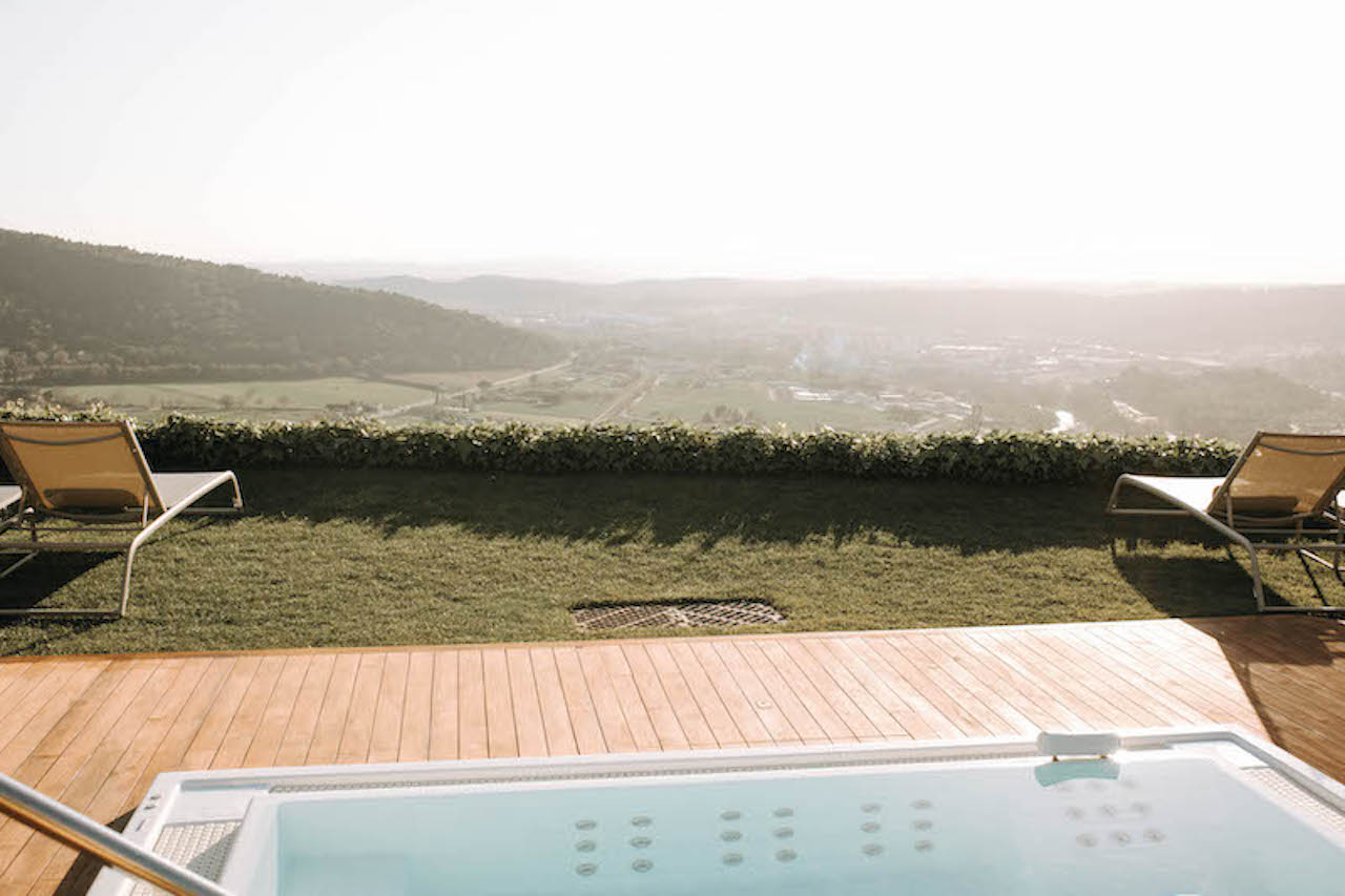 View of the Spanish countryside from large wedding accommodation