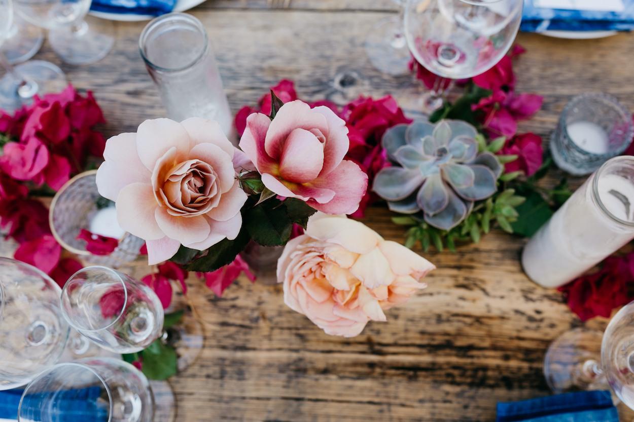 Beautiful wedding flowers on a wedding table