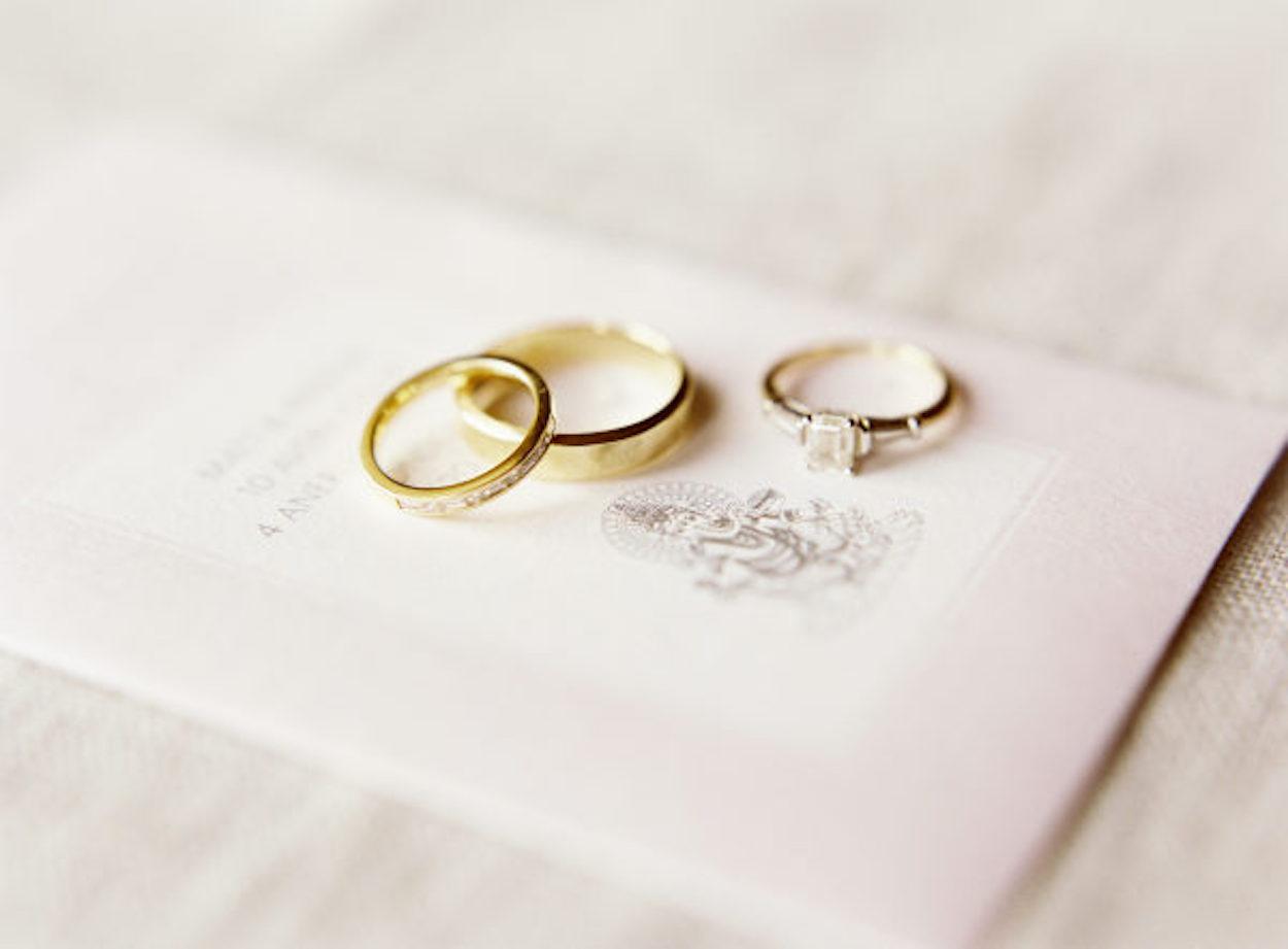 Wedding rings on a wedding invite