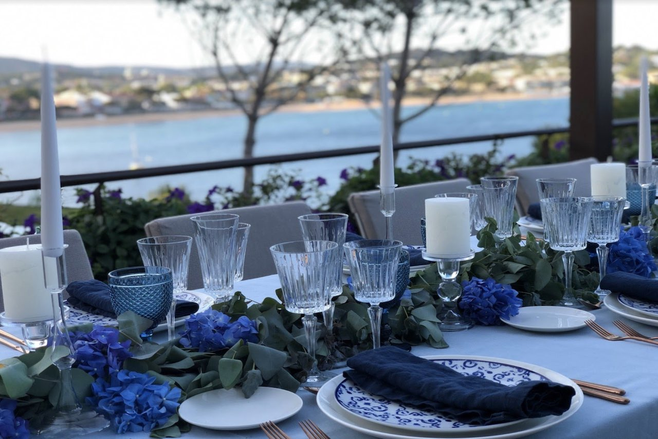 A table at a wedding venue set for a reception
